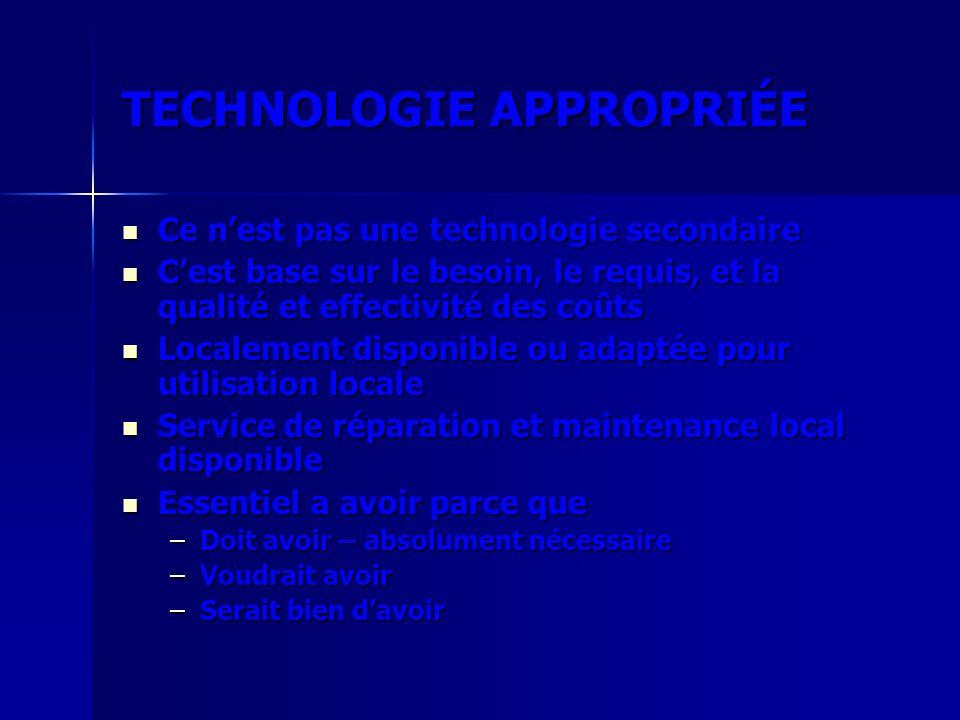 TECHNOLOGIE APPROPRIÉE