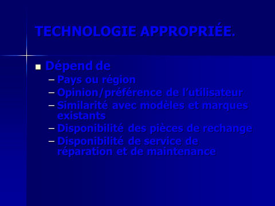 TECHNOLOGIE APPROPRIÉE.
