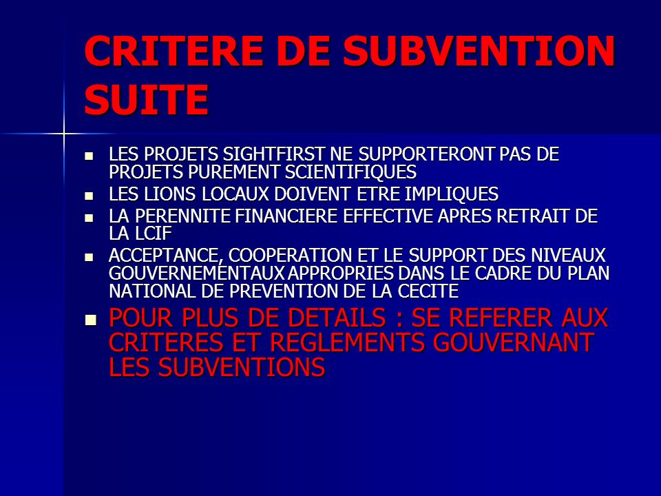 CRITERE DE SUBVENTION SUITE