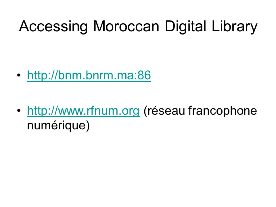 Accessing Moroccan Digital Library