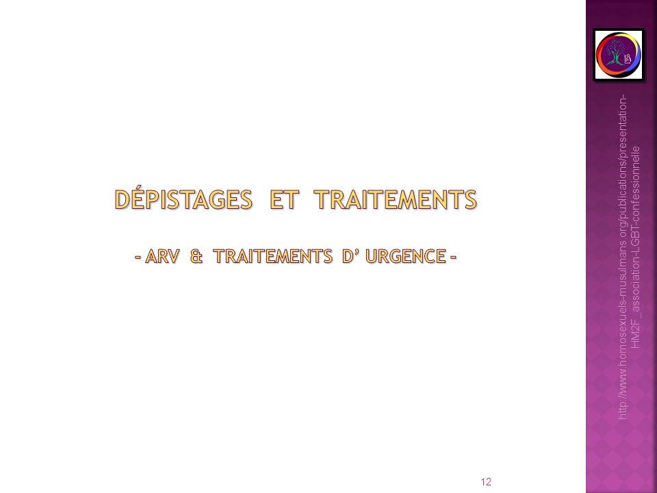 Dépistages et traitements - arv & traitements d' urgence -
