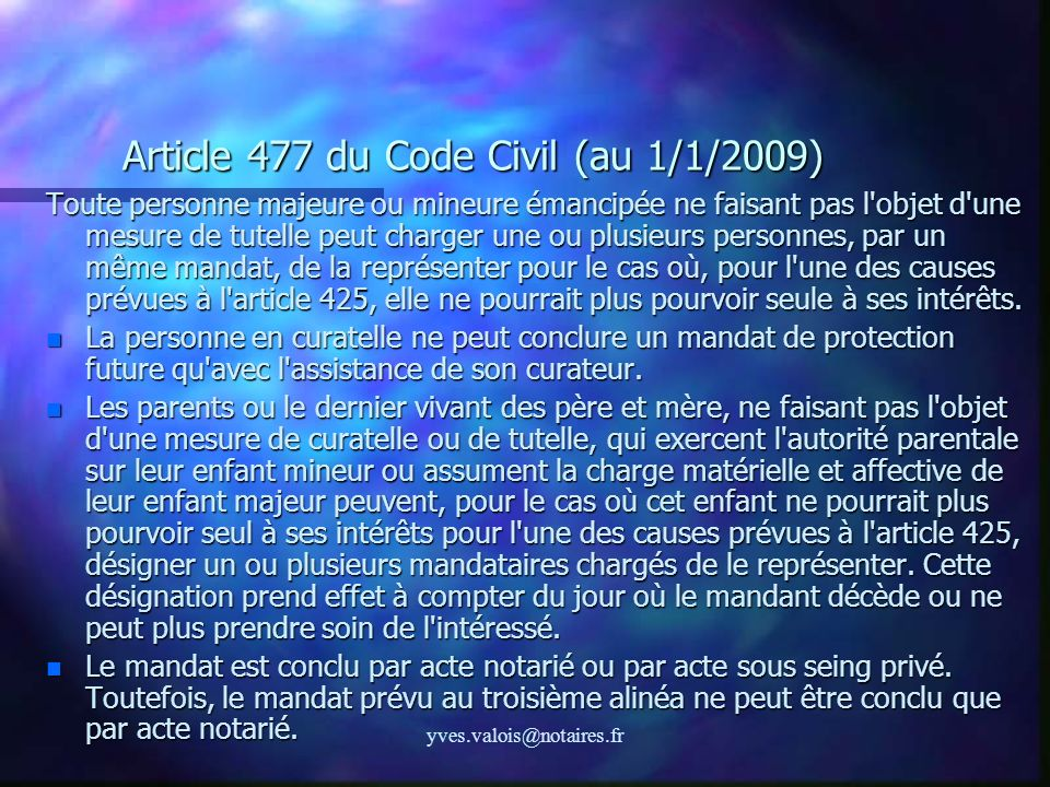 Article 477 du Code Civil (au 1/1/2009)