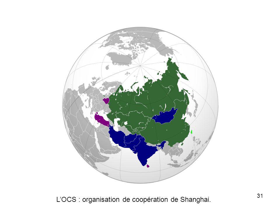L'OCS : organisation de coopération de Shanghai.