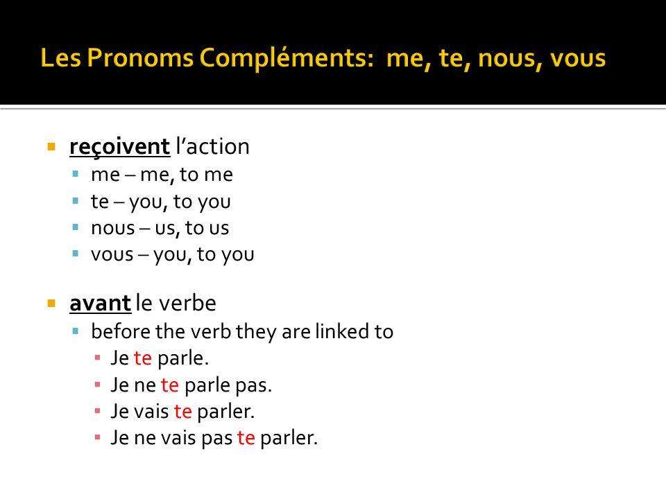 Les Pronoms Compléments: me, te, nous, vous