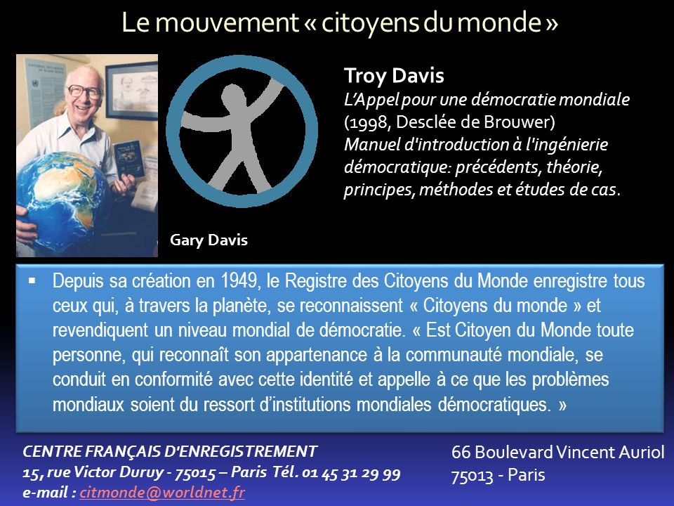 Le mouvement « citoyens du monde »