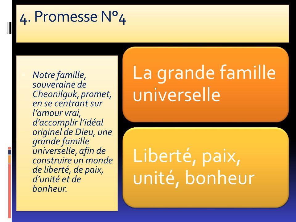 4. Promesse N°4 La grande famille universelle. Liberté, paix, unité, bonheur.