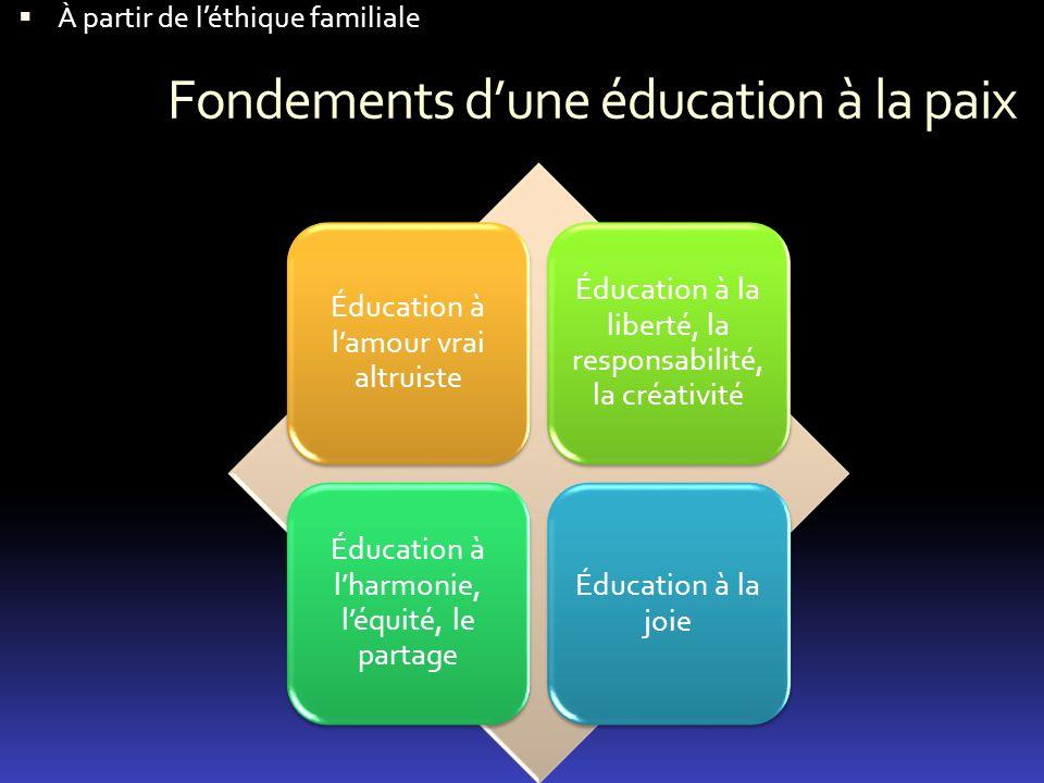 Fondements d'une éducation à la paix