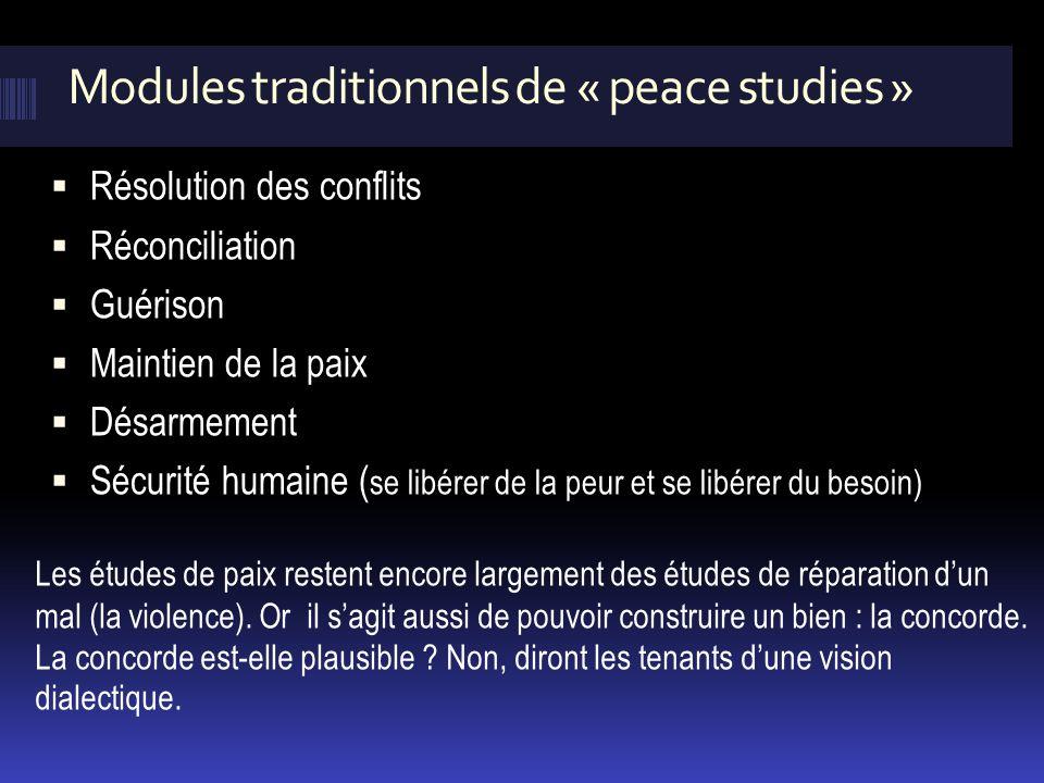 Modules traditionnels de « peace studies »