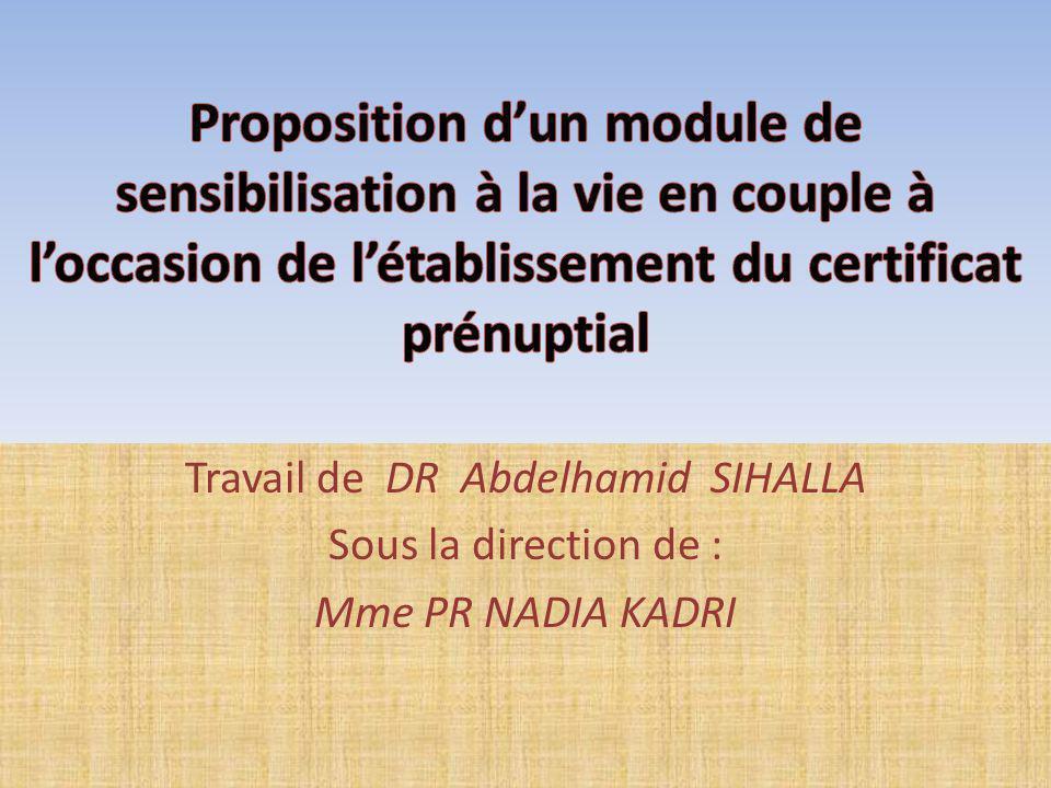 Travail de DR Abdelhamid SIHALLA