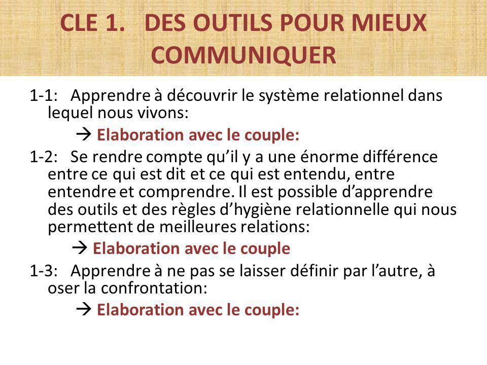 CLE 1. DES OUTILS POUR MIEUX COMMUNIQUER