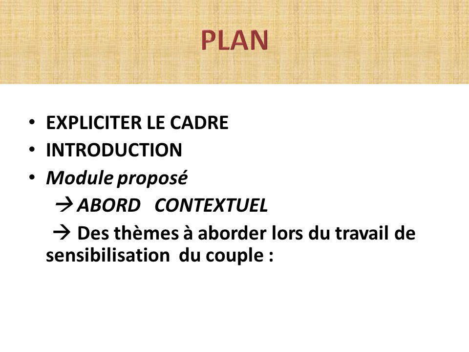 PLAN EXPLICITER LE CADRE INTRODUCTION Module proposé