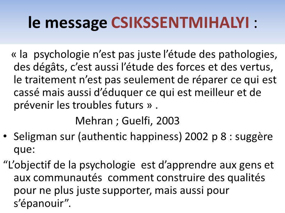 le message CSIKSSENTMIHALYI :