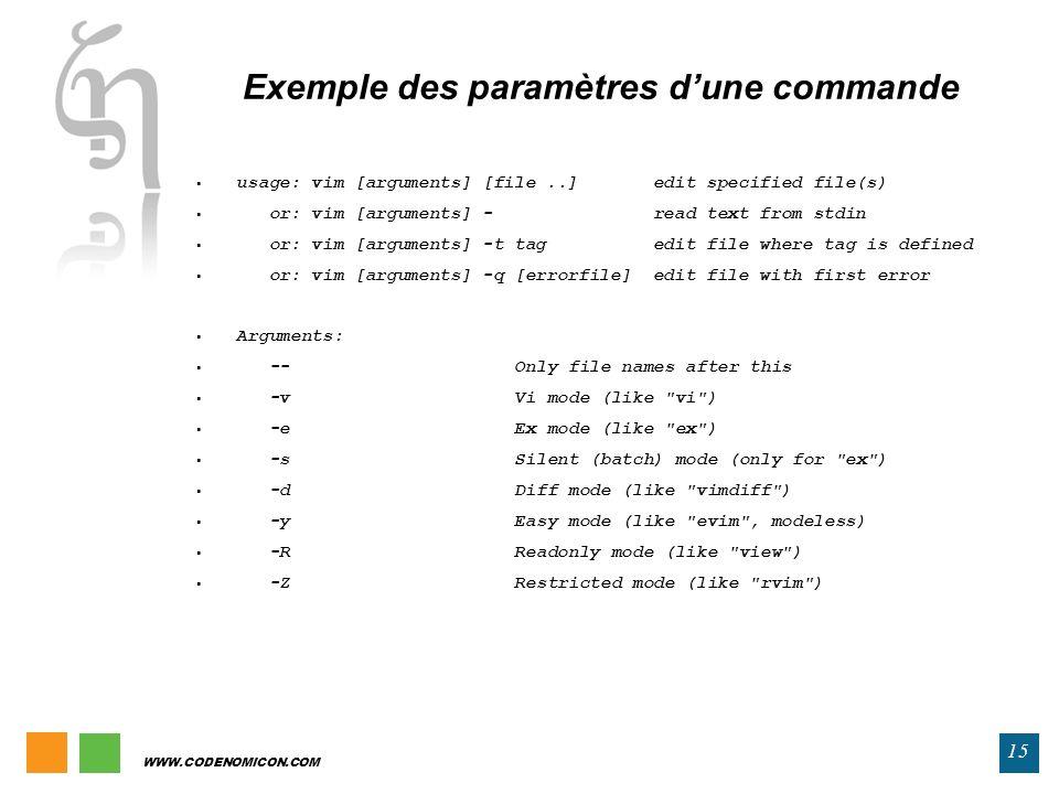 Exemple des paramètres d'une commande