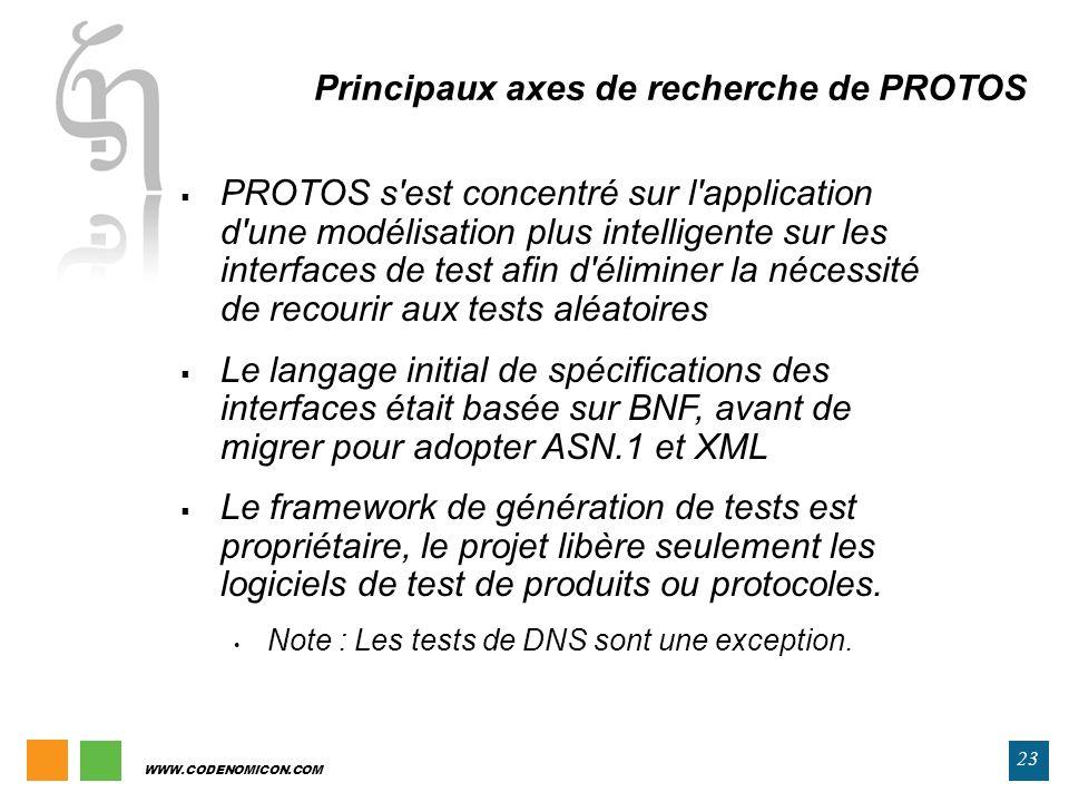 Principaux axes de recherche de PROTOS