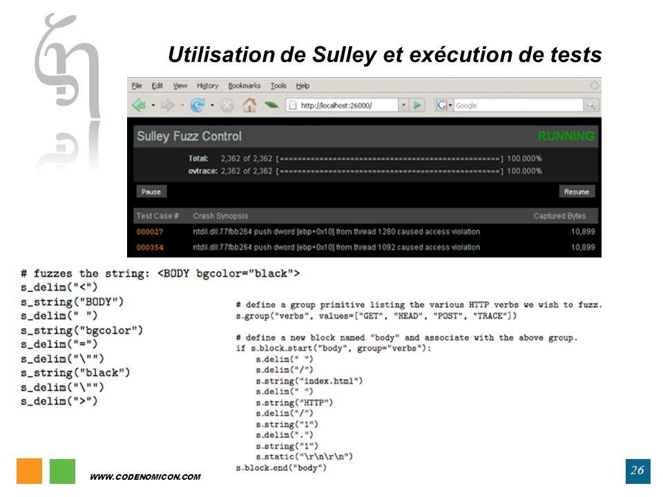 Utilisation de Sulley et exécution de tests