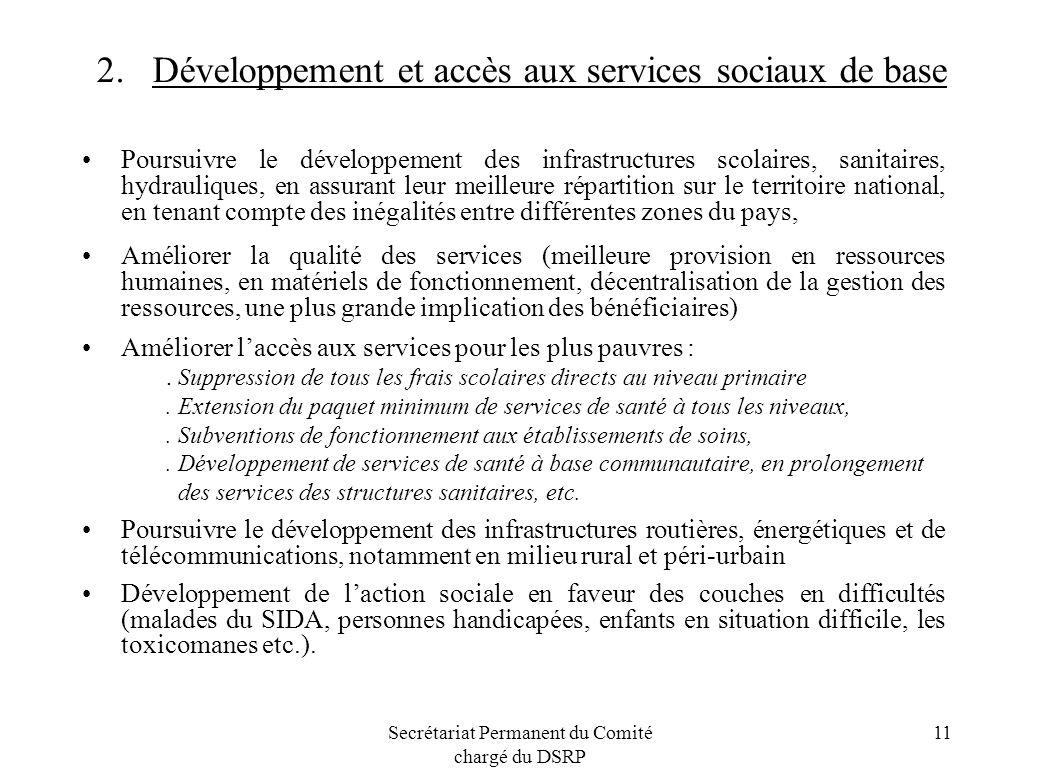 2. Développement et accès aux services sociaux de base