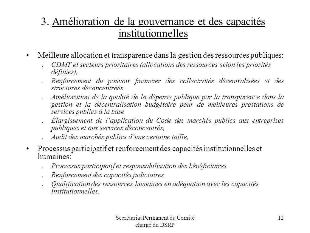 3. Amélioration de la gouvernance et des capacités institutionnelles