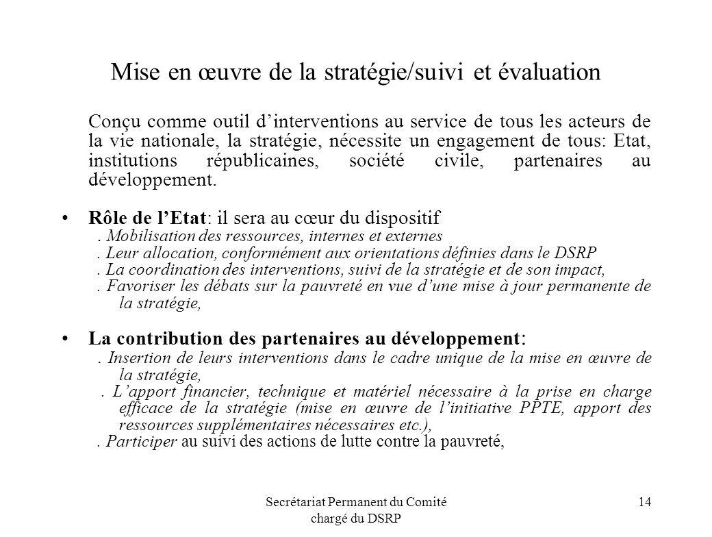 Mise en œuvre de la stratégie/suivi et évaluation