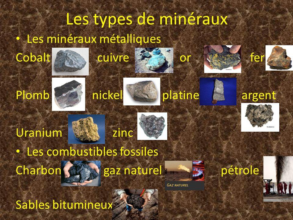 Les types de minéraux Les minéraux métalliques Cobalt cuivre or fer