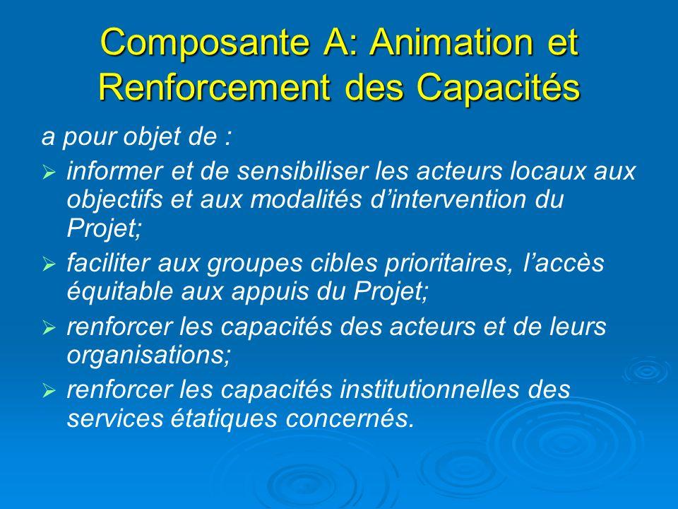 Composante A: Animation et Renforcement des Capacités
