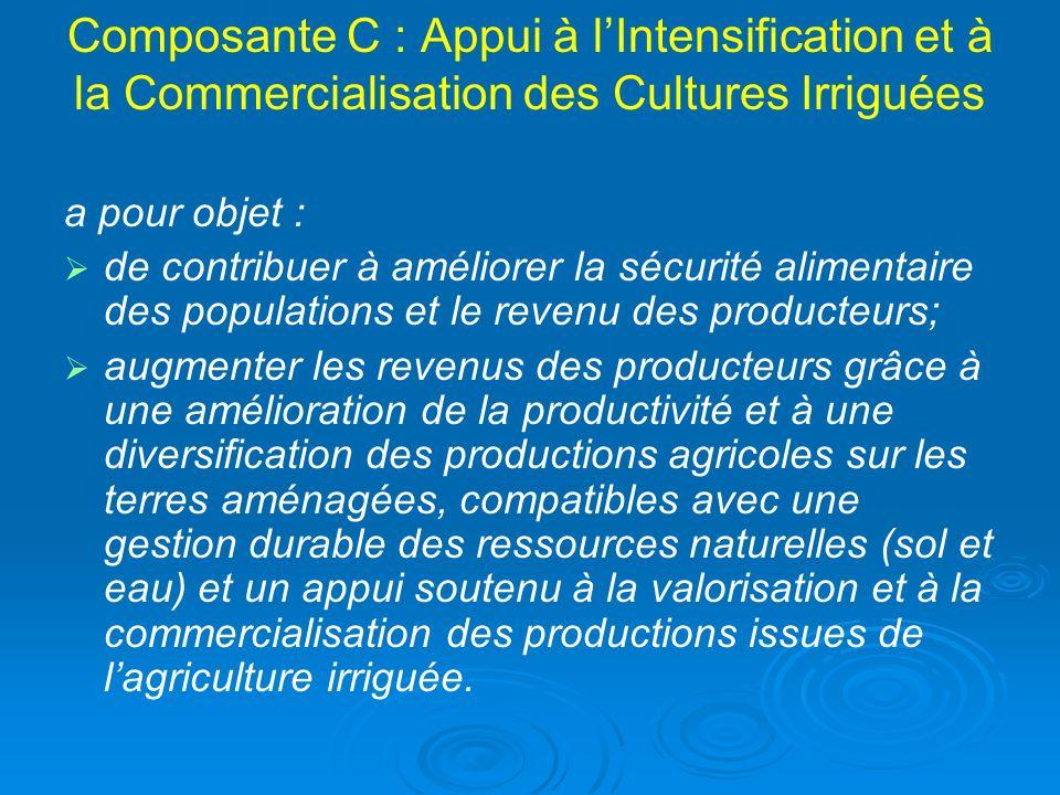 Composante C : Appui à l'Intensification et à la Commercialisation des Cultures Irriguées