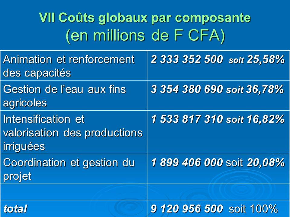 VII Coûts globaux par composante (en millions de F CFA)