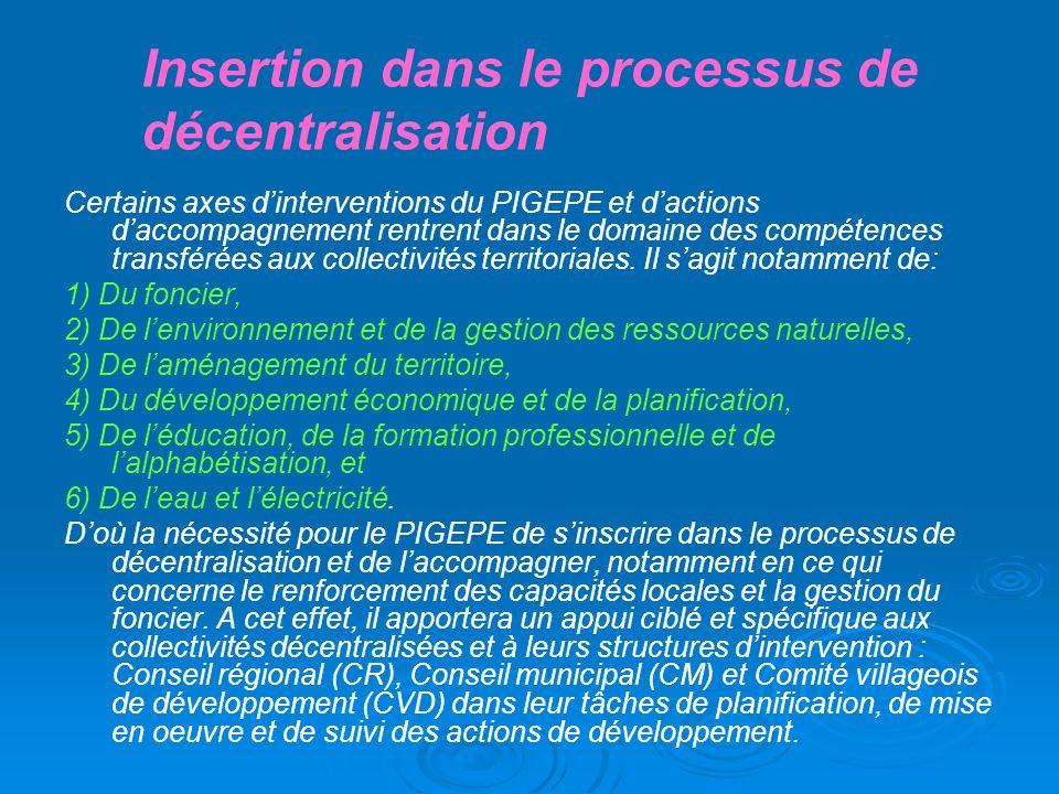 Insertion dans le processus de décentralisation
