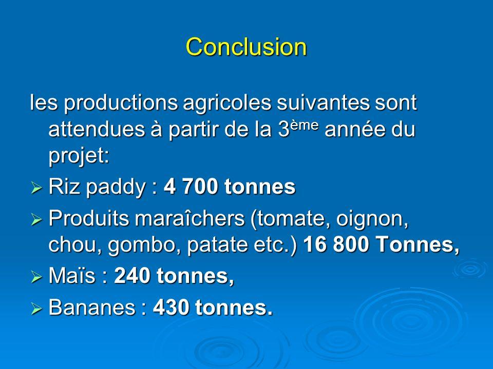Conclusion les productions agricoles suivantes sont attendues à partir de la 3ème année du projet: Riz paddy : 4 700 tonnes.