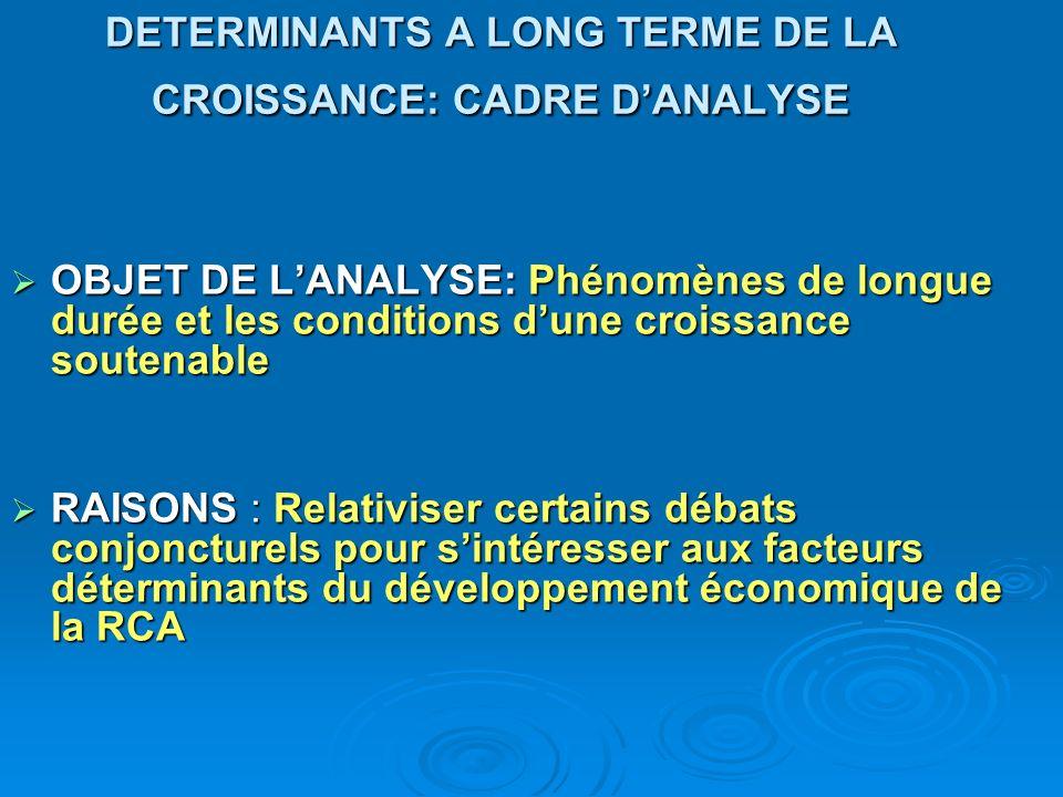 DETERMINANTS A LONG TERME DE LA CROISSANCE: CADRE D'ANALYSE