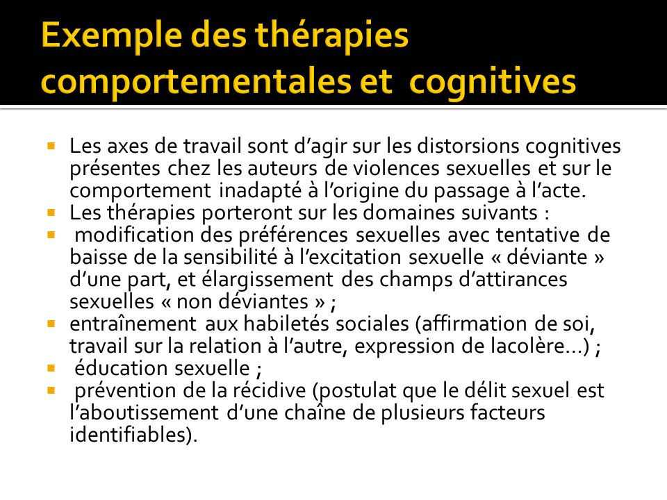 Exemple des thérapies comportementales et cognitives