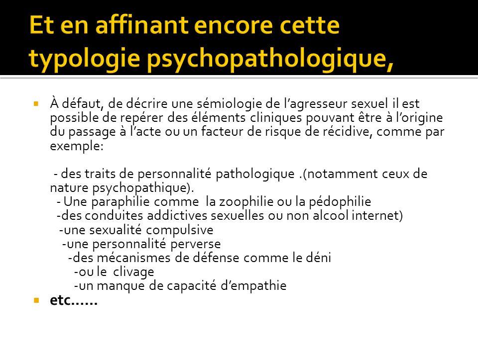 Et en affinant encore cette typologie psychopathologique,