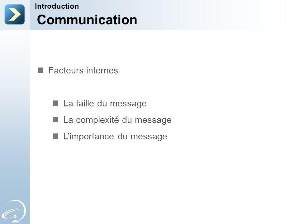 Communication Facteurs internes La taille du message