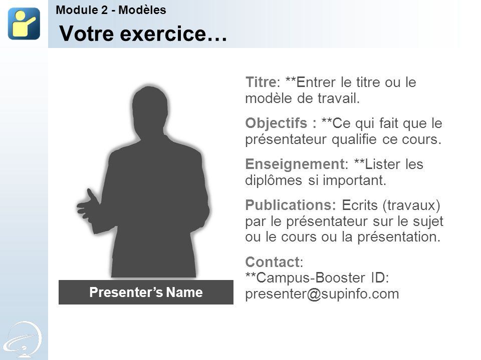 Votre exercice… Titre: **Entrer le titre ou le modèle de travail.