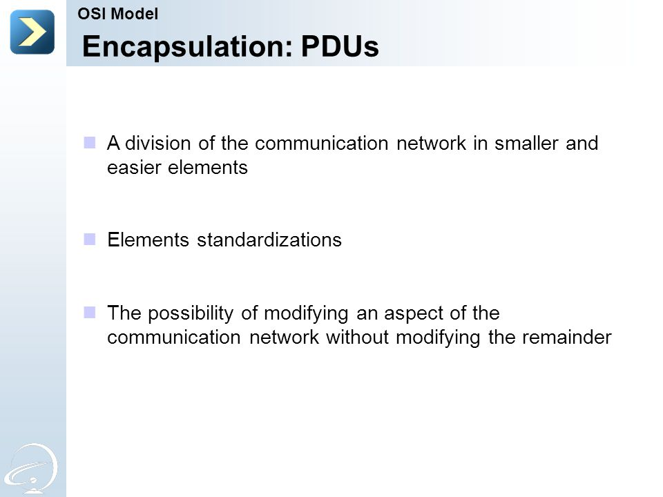 OSI Model Encapsulation: PDUs. A division of the communication network in smaller and easier elements.