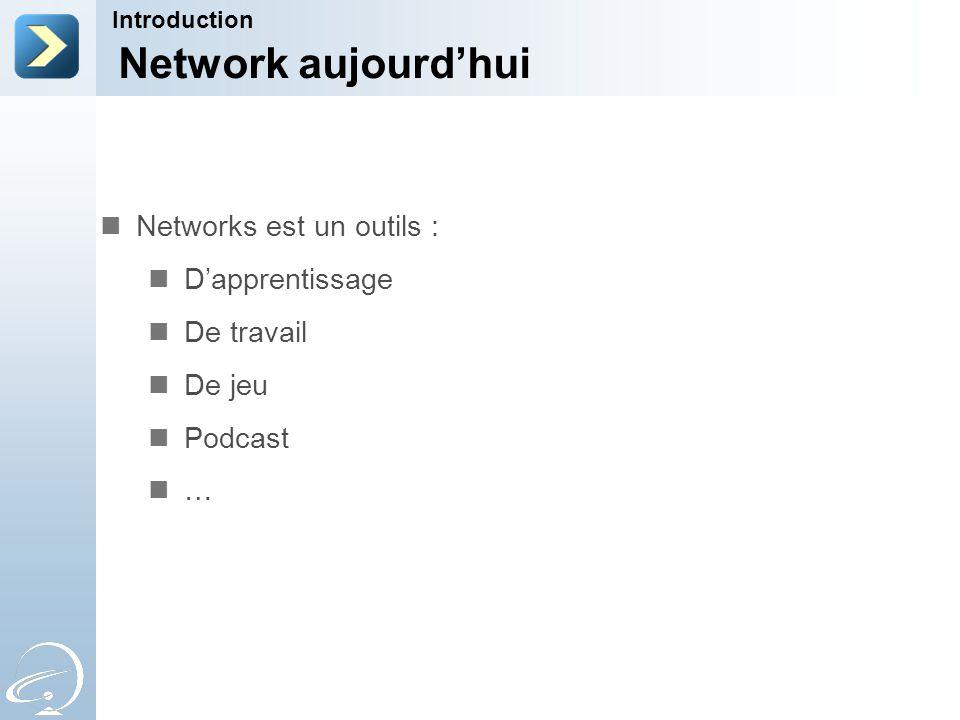 Network aujourd'hui Networks est un outils : D'apprentissage