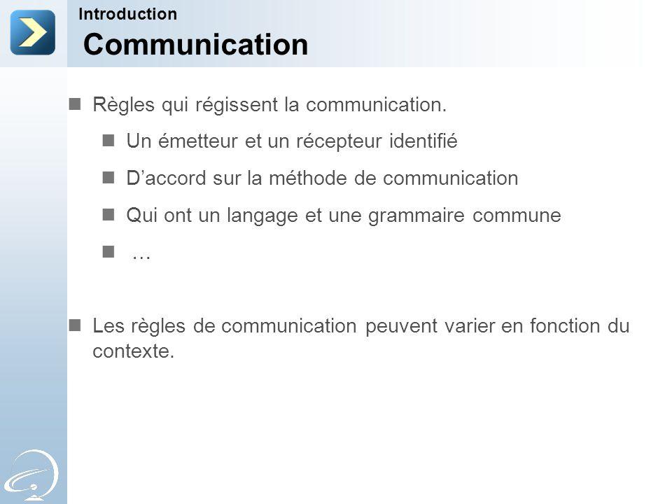 Communication Règles qui régissent la communication.