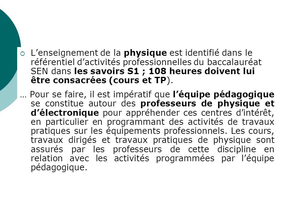 L'enseignement de la physique est identifié dans le référentiel d'activités professionnelles du baccalauréat SEN dans les savoirs S1 ; 108 heures doivent lui être consacrées (cours et TP).