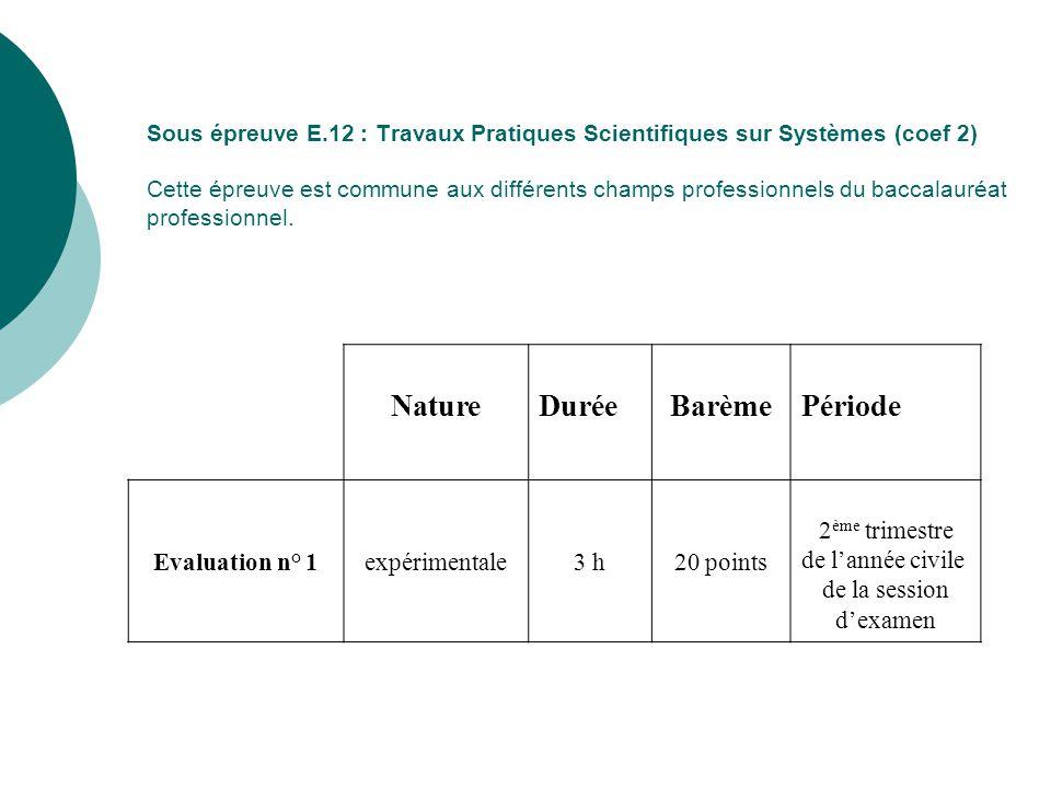 Nature Durée Barème Période Evaluation n° 1 expérimentale 3 h