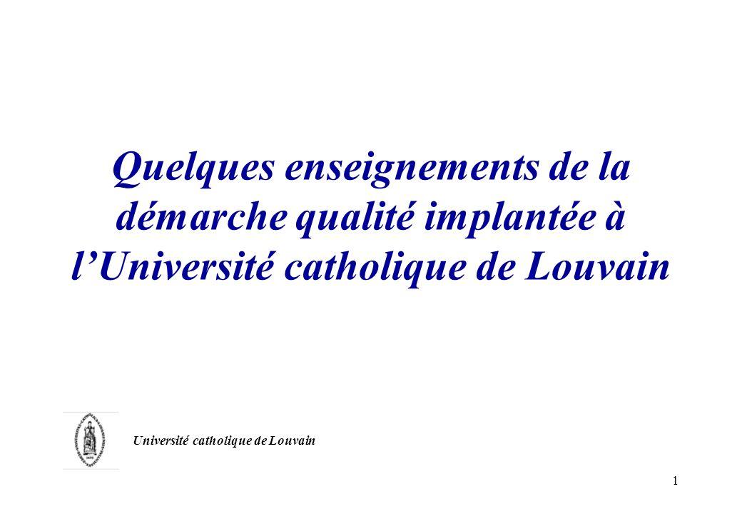 Quelques enseignements de la démarche qualité implantée à l'Université catholique de Louvain