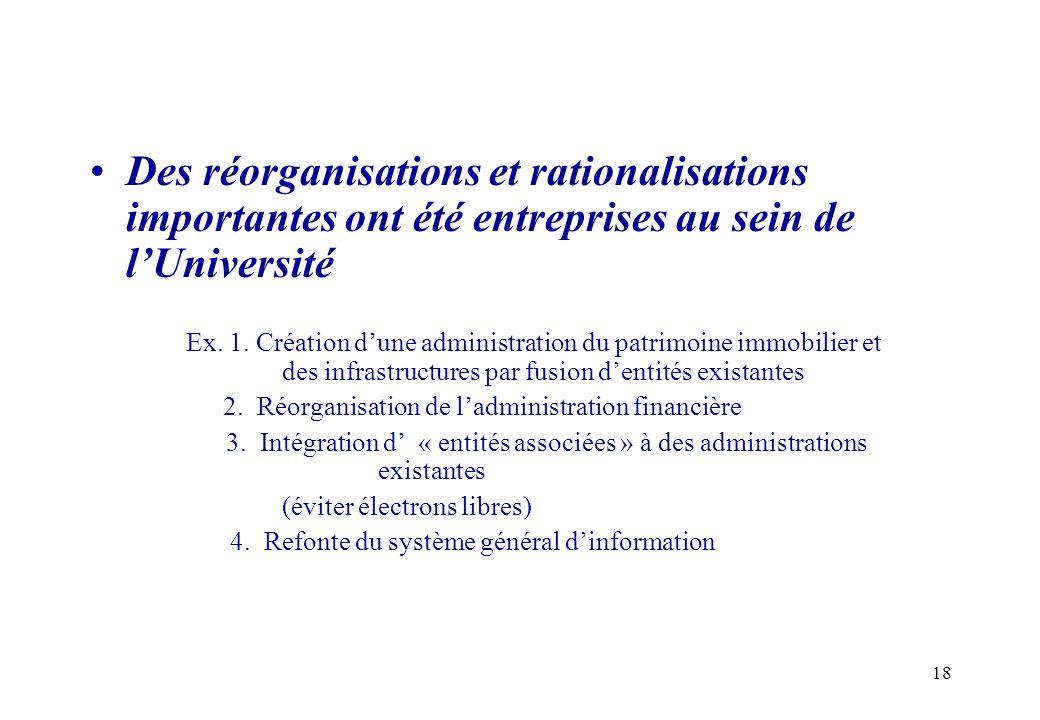 Des réorganisations et rationalisations importantes ont été entreprises au sein de l'Université