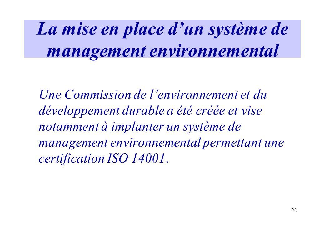 La mise en place d'un système de management environnemental