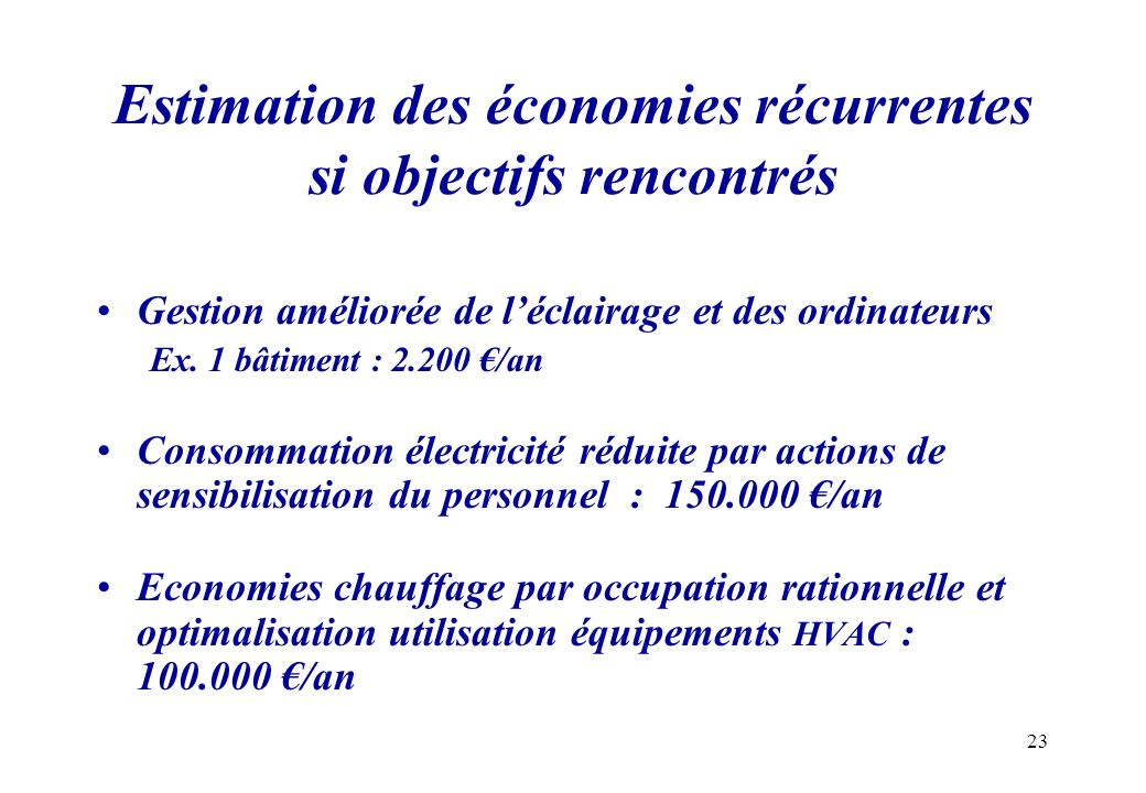 Estimation des économies récurrentes si objectifs rencontrés