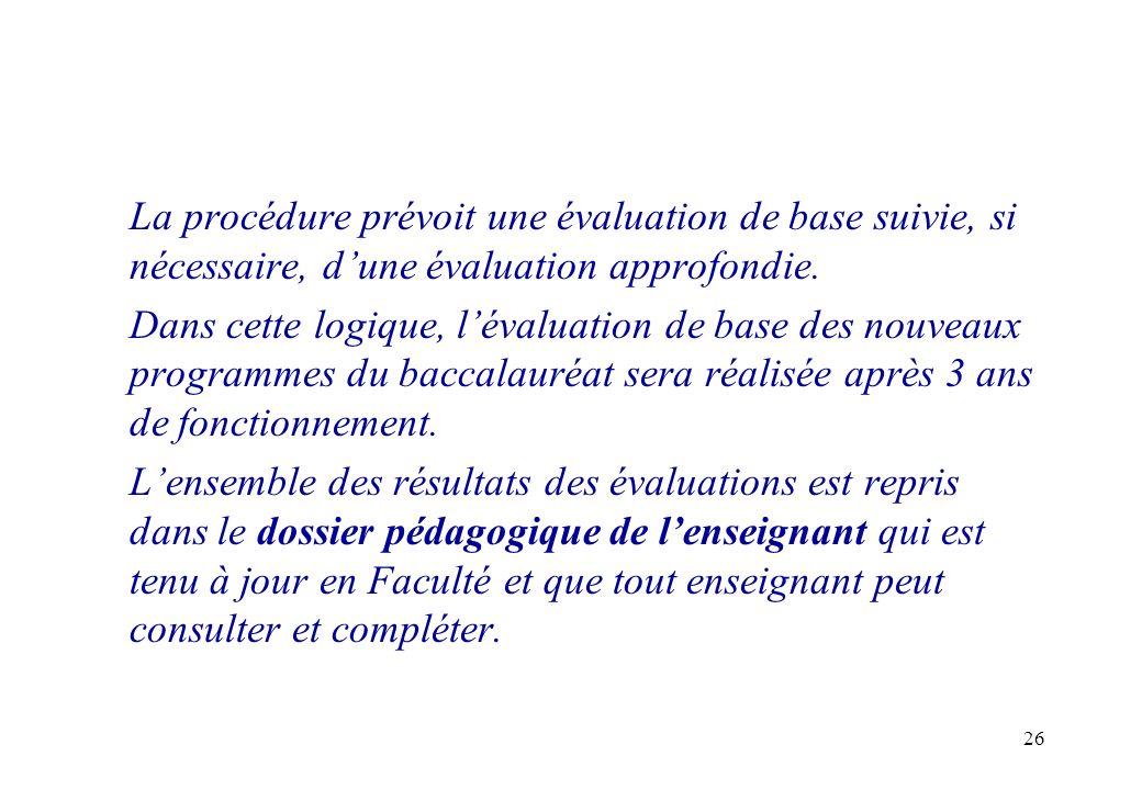 La procédure prévoit une évaluation de base suivie, si nécessaire, d'une évaluation approfondie.