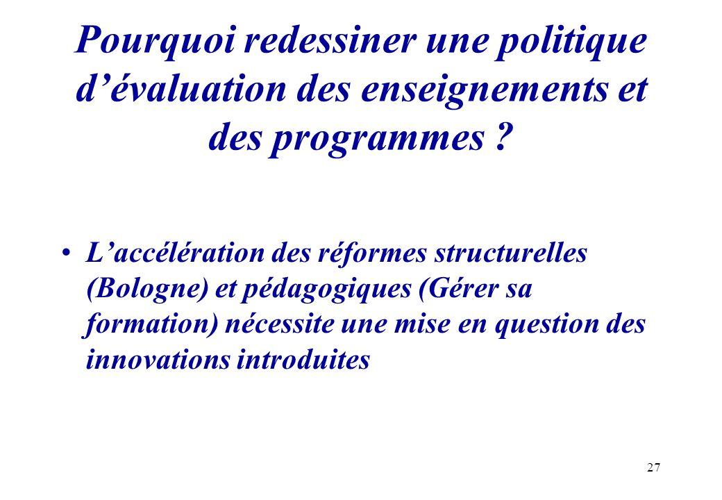 Pourquoi redessiner une politique d'évaluation des enseignements et des programmes