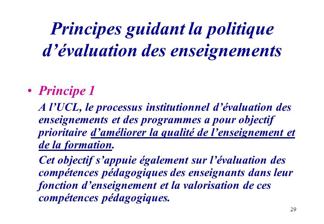 Principes guidant la politique d'évaluation des enseignements