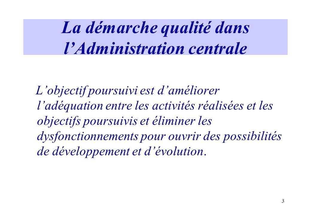 La démarche qualité dans l'Administration centrale