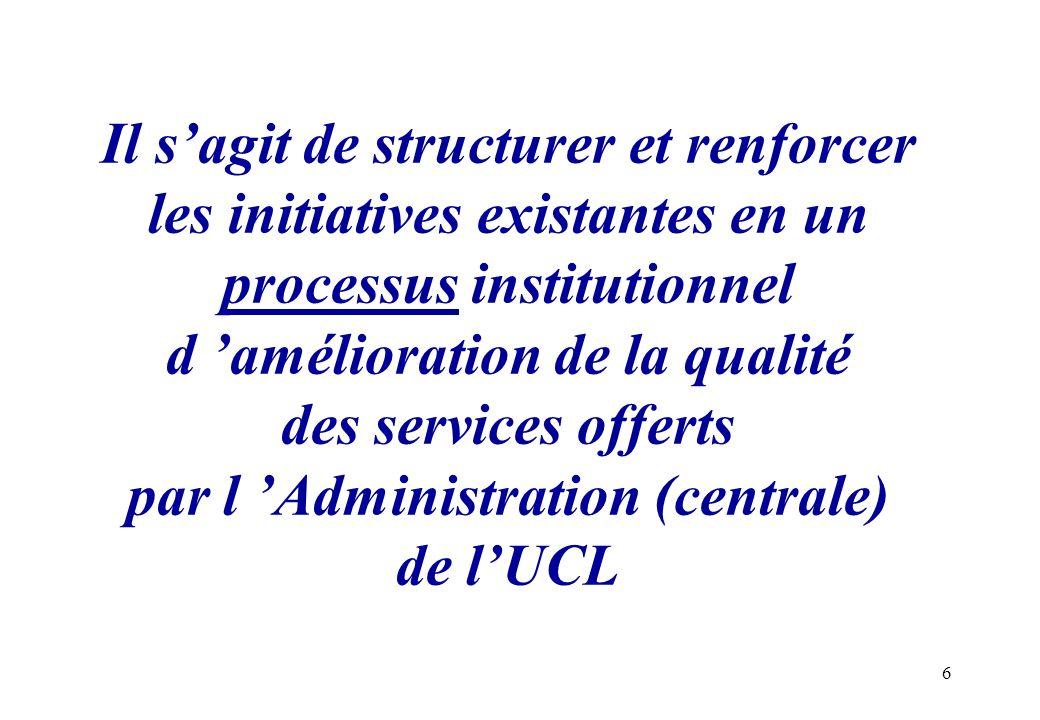 Il s'agit de structurer et renforcer les initiatives existantes en un processus institutionnel d 'amélioration de la qualité des services offerts par l 'Administration (centrale) de l'UCL