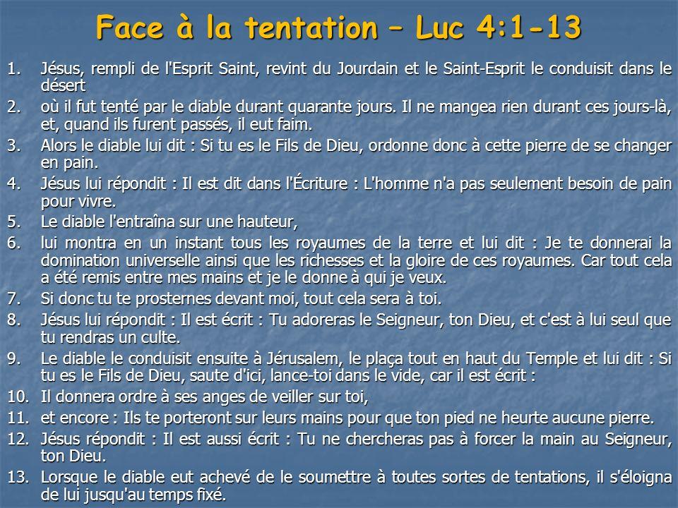 Face à la tentation – Luc 4:1-13