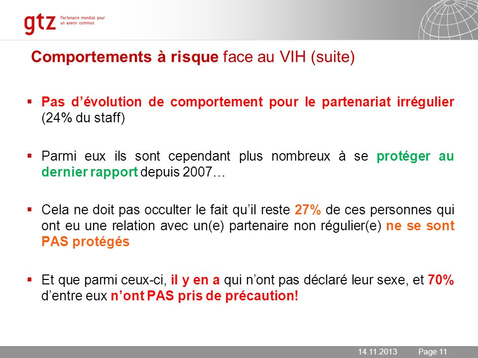 Comportements à risque face au VIH (suite)