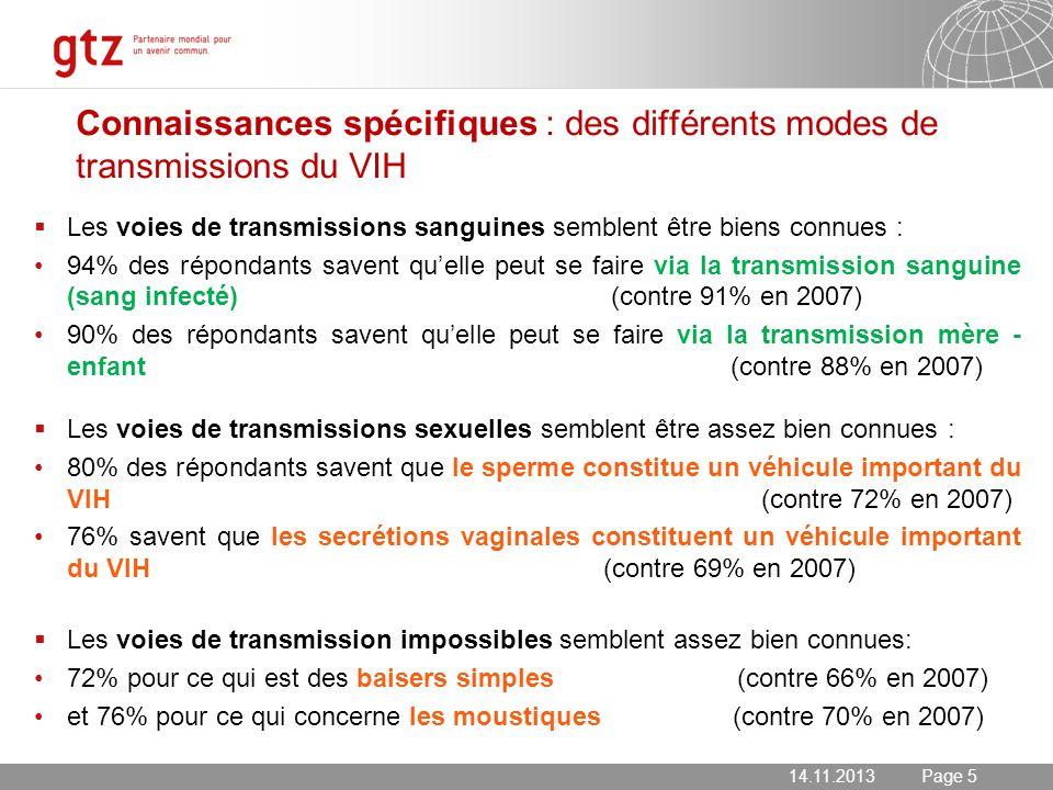 Connaissances spécifiques : des différents modes de transmissions du VIH